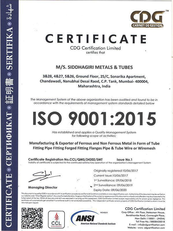 ISO 9001:2015 Certifications