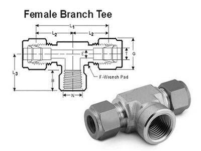 Female Branch Tee Compression Tube Fittings
