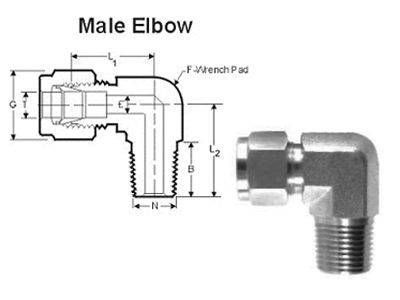 Male Elbow Compression Tube Fittings